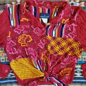 Vintage mixed print blouse
